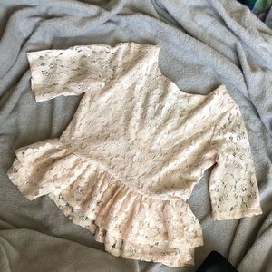 H&M Paste Pink Lace Peplum Top